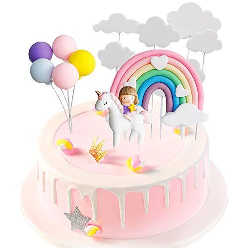 Gresunny Decoración para Tarta de Unicornio Decoración de Pasteles Cumpleaños Nube Arcoiris Globos Unicornio Cake Toppers Kit Toppers para Tartas para Cumpleaños de Infantiles Tiesta de Baby Shower