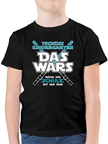 Einschulung und Schulanfang - Das Wars Kindergarten Blau - 140 (9/11 Jahre) - Schwarz - Kinder t Shirt Jungen 152 - F130K - Kinder Tshirts und T-Shirt für Jungen