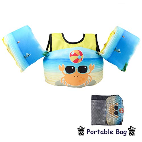 Elejolie Swim Aids for Toddlers,Kids Learn to Swim Life Jacket for Toddlers,Swim Aid Floater Life Vest - 22-66lbs (Upgrade-Crab)