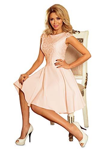 Numoco Kleid Minikleid Abendkleid Spitze schwingend figurbetont S-XL, Farbe:pfirsich, Größe:38