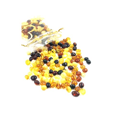 Polished Natural Baltic Amber Loose Beads with Drilled Hole - 5Grams - Certified Natural Amber Beads for Jewelry Making