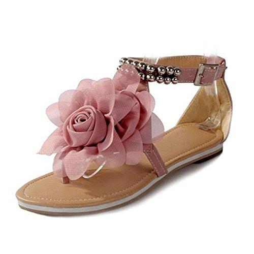 Minetom Damenschuhe Böhmen Stil Blume Schuhe Sommer Sandalen Sandaletten Glitzer Partei Riemchen Zehentrenner Rom Flip Flops (Pink EU 40)