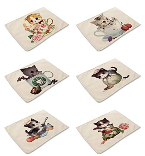 Juego de 6 manteles individuales de algodón y lino para mesa de comedor, diseño vintage de mascotas, apto para gatos, lavables, ecológicos, resistentes al calor, antideslizantes, para decoración moderna del hogar, cocina, comedor
