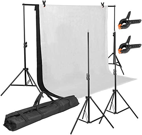 Support de Fond 3m X 2m, Support de Toile, Toile 1.6m x 2m en Mousseline Blanc/Noir, Trépied Réglable de 65cm-200cm avec Etui de Transport, Adapté à la Photographie, Diffusion en Direct, Fête