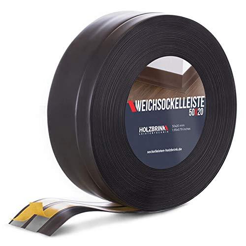 HOLZBRINK Rodapiés flexible autoadhesivo Negro Rodapiés flexible 50x20 mm, 15 m Zócalo Autoadhesivo