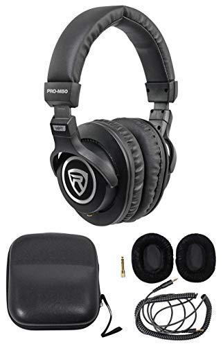 Rockville PRO-M50 Studio Headphones w/ Detachable Coil Cable, Case+Extra Ear Pad