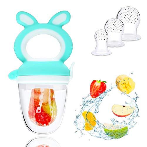 Fruchtsauger, Schätzchen Schnuller Gemüse sauger, Schnuller Beißringe für Obst Gemüse Brei Beikost, BPA-frei, Fruchtsauger für Baby & Kleinkind, 3 Silikon Sauger in 3 Größen, Grün