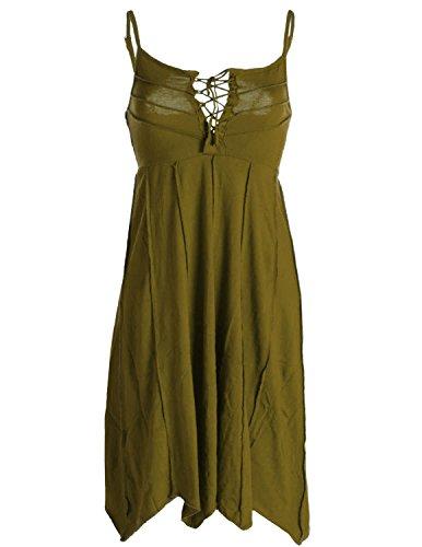 Vishes - Alternative Bekleidung - Leichtes Sommerkleid mit verstellbaren Trägern olive 46