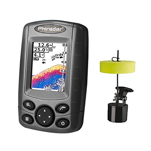 Lixada Buscador de Peces Portátil Detector de Profundidad de Peces con Transductor de Sonda y Pantalla LCD