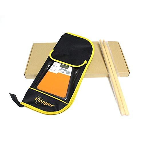 Monrodbitt Digital-elektrisches dummes Trommel-Pad für Training Praxis-Metronom-Percussion-Instrument liefert Rhythmus-Trainer mit Trommelstock - Schwarzes u. Orange