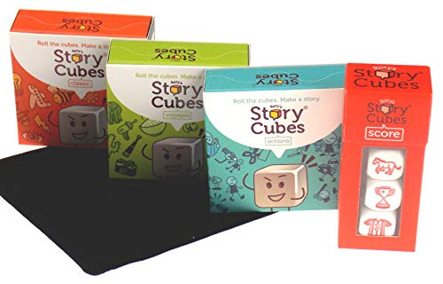 Rory#039s Story Cubes Bundle  Includes Rory#039s Story Cubes Original Actions Voyages Score amp Hickoryville Velour Drawstring Bag 5 Items