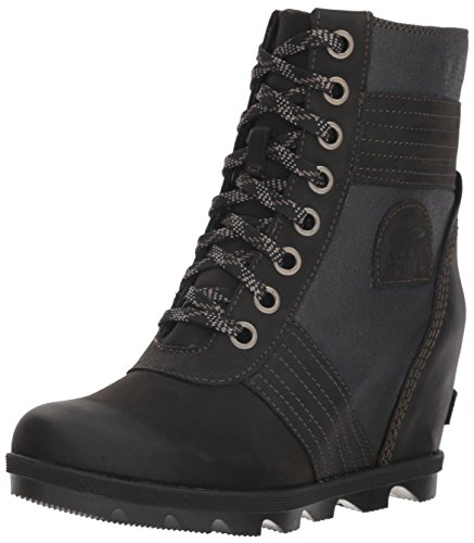 Sorel - Women's Lexie Wedge Waterproof Lace-Up Ankle Boot, Black, 9 M US