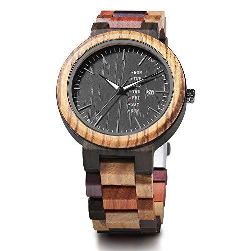 WHQ Hochwertiger All-Holz-Männer Holztisch Mode Kreative All-Holz-Holz-Quarz-Uhr hölzerne Uhr, Paar beiläufige Uhr, mit leuchtendem, das besten Urlaub Geschenk QD