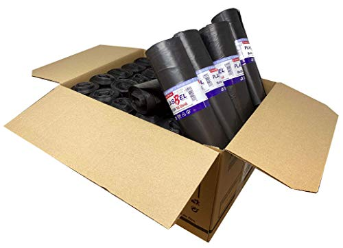 Bolsa de basura de comunidad color negro. Con capacidad de 100 litros para cubo de comunidad. 300 sacos de basura resistentes con termosellado. 10 uds por rollo. Caja de 30 rollos.