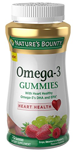 Omega-3 Gummies by Nature's Bounty, Dietary Supplement with Heart Healthy Omega 3's DHA and EPA, Fruit Flavored Gummy Dietary Supplements for Adults, 70 Gummies