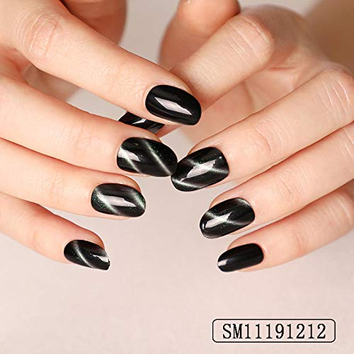 CSCH Faux ongles 24pcs Laser Scratch Black False Nails Cat Eye Short Round Head Nails Extended Decoration Beauty Fake Nail Removable Stickers