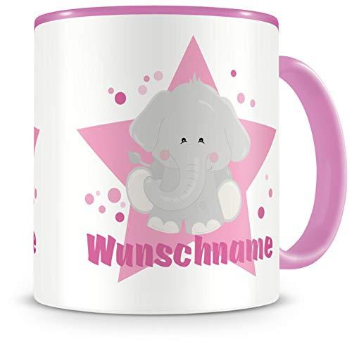 Samunshi® Kindertasse mit Namen Tasse süßer Elefant Personalisierte Tasse mit Namen Kinder Kinderbecher mit Namen Kindergarten rosa 300ml