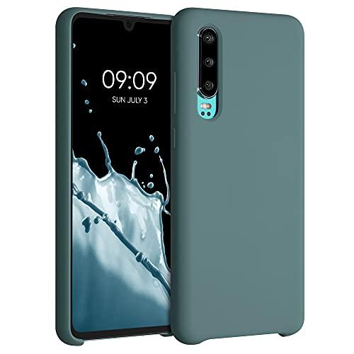 kwmobile Carcasa Compatible con Huawei P30 - Funda de Silicona para móvil - Cover Trasero en Gris frío Oscuro