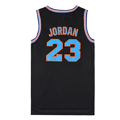 XGYD Camiseta De Baloncesto para Hombre Jordan # 23 Space Movie Jam Jersey, Camiseta Retro Tops Bordados De Verano Camiseta Sin Mangas De Baloncesto Boy Swingman, Regalo Black-M