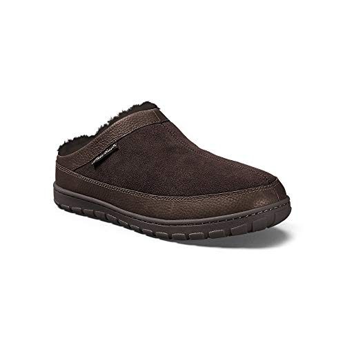 Eddie Bauer Men's Shearling Scuff Slipper, Dk Brown Regular 10M