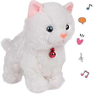 Smalody Plush Cat Walking Pet Sound Control Electronic Cat Interactive Toys Electronic Pets Robot Cat Stand Walk Electronic Toys Best Gift for Girls Baby Children (White)