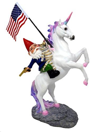 Cat, Gnome & Unicorn Statue