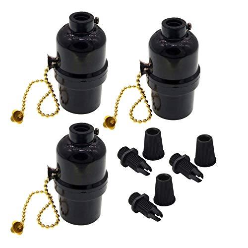 Phenolic Medium Base Light Socket with Pull Chain Switch,3 Pack TWDRTDD Black Period Style E26 E27 Edison Retro Pendant Lamp Holder (1/8 IP Thread Cap)