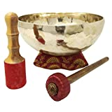 CRAFTSTRIBE 12' Handmade Crown Chatra Tibetan Singing Bowl Meditation Healing Bowl With Mallet And Silk Cushion