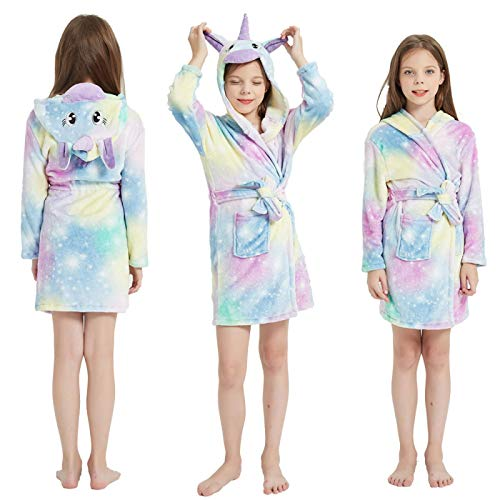 LEYUANA Albornoz de Franela para niños, Pijamas para niña Toalla de Playa para niños y niños Albornoces para niños Toalla Ropa de Dormir Camisones 150CM LR13