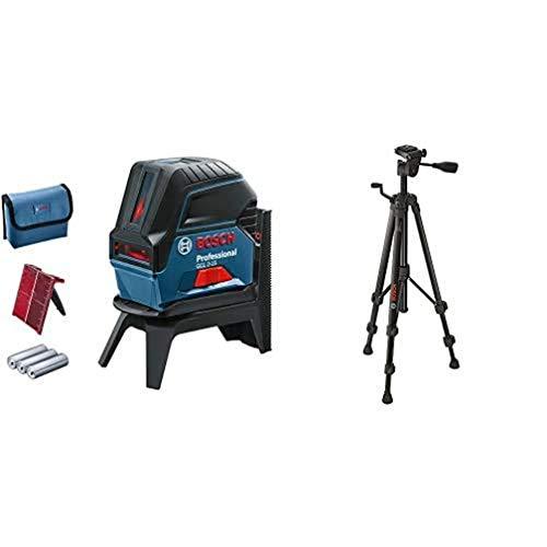 Bosch Professional Kreuzlinienlaser GCL 2-15 (roter Laser, mit Lotpunkten, Arbeitsbereich: 15 m, mit Stativ, 3x AA Batterien, Drehhalterung RM 1 Professional, Laserzieltafel, Schutztasche)