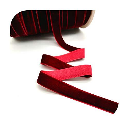 Ribbons Cinta de terciopelo de 6 – 25 mm, para decoración de bodas, fiestas, cinta hecha a mano, para envolver el pelo, lazo, bricolaje, Navidad, vino, rojo, 10 mm de ancho