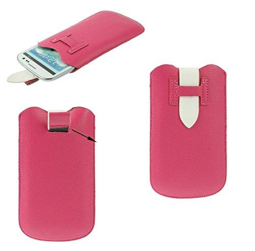 DFVmobile - Etui Tasche Schutzhülle aus Premium Kunstleder mit Rausziehband& Sicherheitsverschluss für gionee Pioneer p3 - Rosa