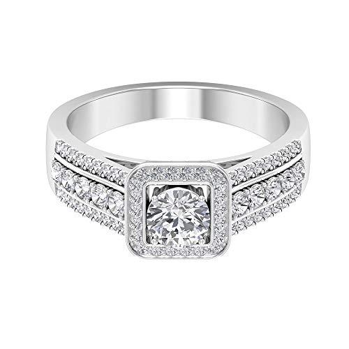 Anillo de 1,06 ct certificado Moissanite Sidestone, anillo de compromiso solitario único, DE-VS1 claridad de color, anillo de halo de piedras preciosas, 14K Oro blanco, Moissanita, Size:EU 57