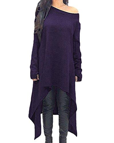 ZANZEA Damen Unregelmäßige Strick Oversize Langarm Pullikleid Longshirt Top Minikleid Lila EU 36/Etikettgröße S