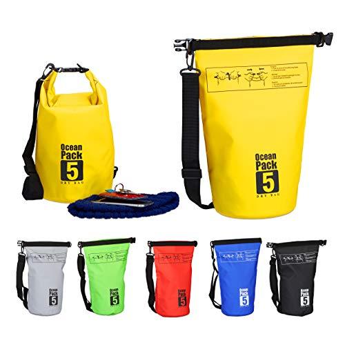 Relaxdays Ocean Pack, 5L, wasserdicht, Packsack, leichter Dry Bag, Trockentasche, Segeln, Ski, Snowboarden, gelb