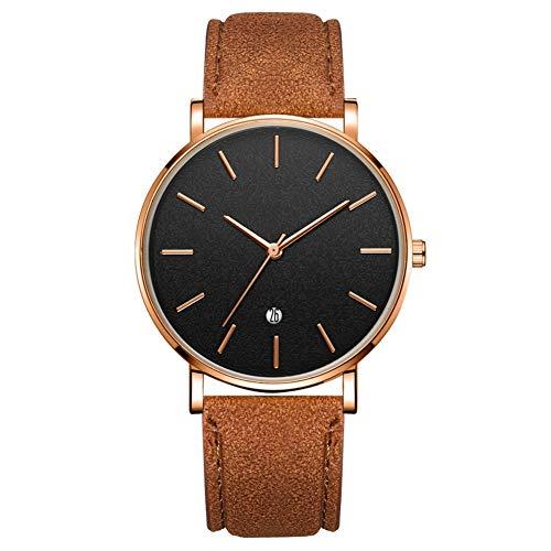 SUYANG Reloj Redondo Redondo Reloj De Cuarzo Reloj De Cuarzo Redondo Reloj De Pulsera De Cuarzo (cinturón De Café Caja De Oro Rosa Espejo Negro Dorado Oro Rosa Aguja)