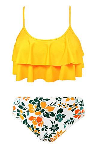 SHEKINI Costumi da Bagno per Donna Bambina Bikini Due Pezzi Madre e Figlia Carino Elegante a Balze Regolabile Halter Top Stampato Bikini Famiglia Beachwea(8-10 Anni,Giallo)