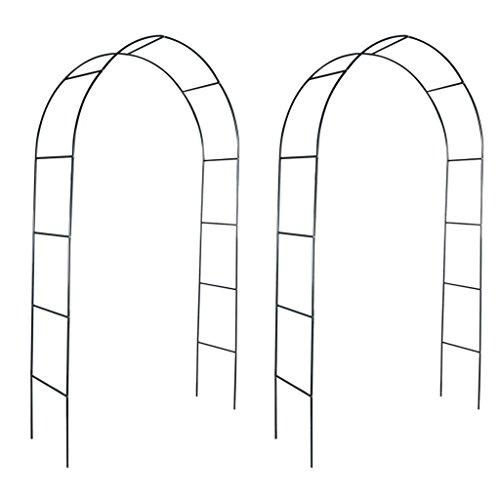 Lingjiushopping Lot de 2 arches de jardin en fer - Couleur : vert foncé