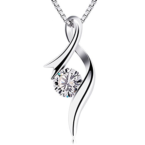 B.Catcher Necklaces 925 Sterling Silver Pendant Necklaces Cubic Zirconia Twist Heart Jewellery