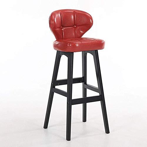 ZCXBHD moderne minimalistische barkruk, massief hout barkruk, kunstleer moderne hoge kruk met rugleuning, geschikt voor bar keuken ontbijt Counter café (zithoogte 68cm)