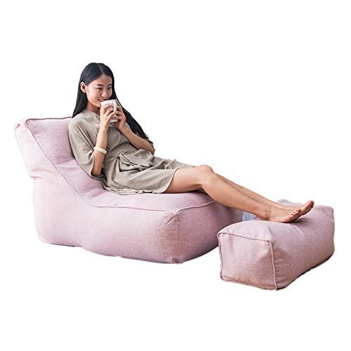 QCBC Lazy Bean Bolsa Silla Sofá Sofá Asiento Puf Puff Sofá para Oficina del Casa Juego De Algodón De Algodón Rosa