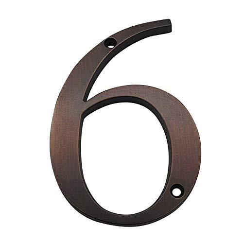 Número De Casa, Número De Dirección De Puerta De 4 En 101 Mm, Señal De Dirección Exterior Montada con Tornillo De Aleación De Zinc (Color : Aged Bronze 6)