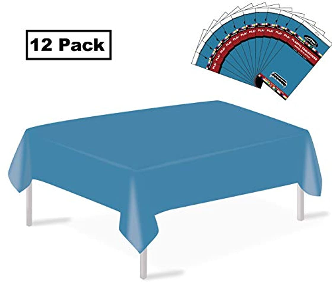 party ulyja Plastic Tablecloths Rectangle 12 Pack Turquoise, Disposable 54