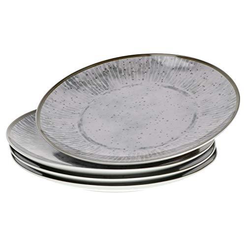 Van Well Alba Lot de 4 assiettes plates en porcelaine robuste avec motif de style industriel Convient pour micro-ondes et lave-vaisselle Grandes assiettes Ø 27 cm