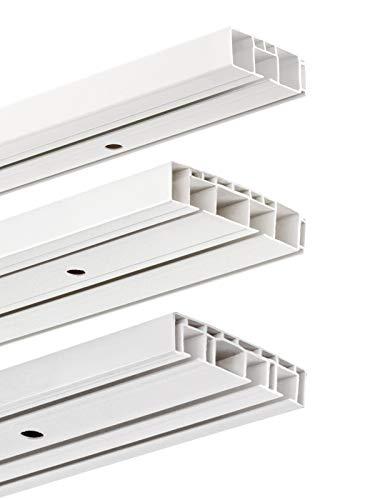 HUGG-Vorhang-Schiene (VS.380.2) 1-/ 2-/ 3- Lauf, Decken-Montage, Hier: 2-Lauf - Länge: 200 cm (2X 100cm)