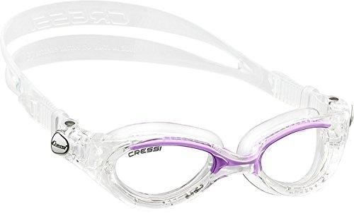 Cressi Flash - Premium Erwachsene Schwimmbrille Antibeschlag und 100% UV Schutz, Transparent/Lilac - Transparent Linsen, One Size