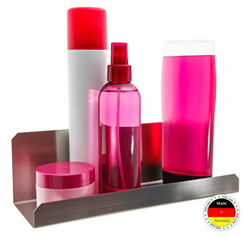 FGE-Line Badablage Organizer aus Edelstahl | selbstklebend & ohne Bohren | Made in Germany | Duschablage Duschkorb