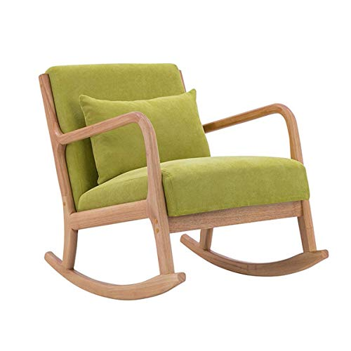 N/Z Home Equipment Relax Schaukelstuhl Stoff Gepolsterter Einzelsofa Sessel mit Massivholzbeinen Moderne gepolsterte Freizeit Schaukelstühle für zu Hause Wohnzimmer Schlafzimmer Büromöbel Schwarz