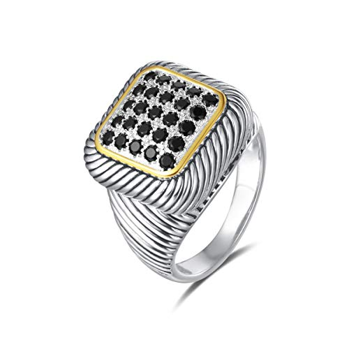 UNY Ring Twisted Cable Wire Designer Inspired Fashion Brand David Vintage Square Pave CZ Antique Women Jewelry Gift (Black, 9)