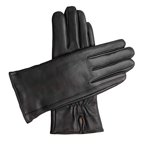 Downholme Classic Leather Cashmere Lined Gloves for Women (Black, M)